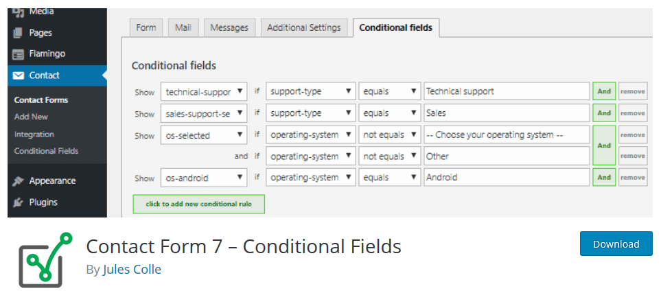conditional fields-plugin para contact form 7