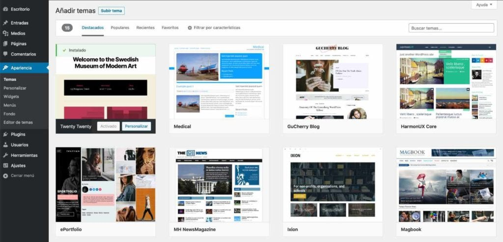 cambiar-tema-en-wordpress-usando-repositorio-wordpress